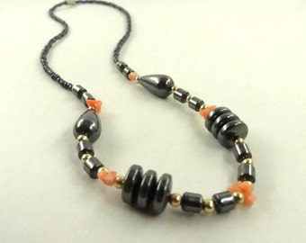 Coral And Hematite Necklace Gold Toned Beads choose one