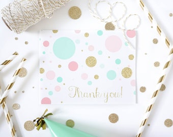 Confetti Thank you cards | Mint, Pink and Gold Thank you card | Thank you notecards for girls |  First Birthday stationery | Girl Stationery