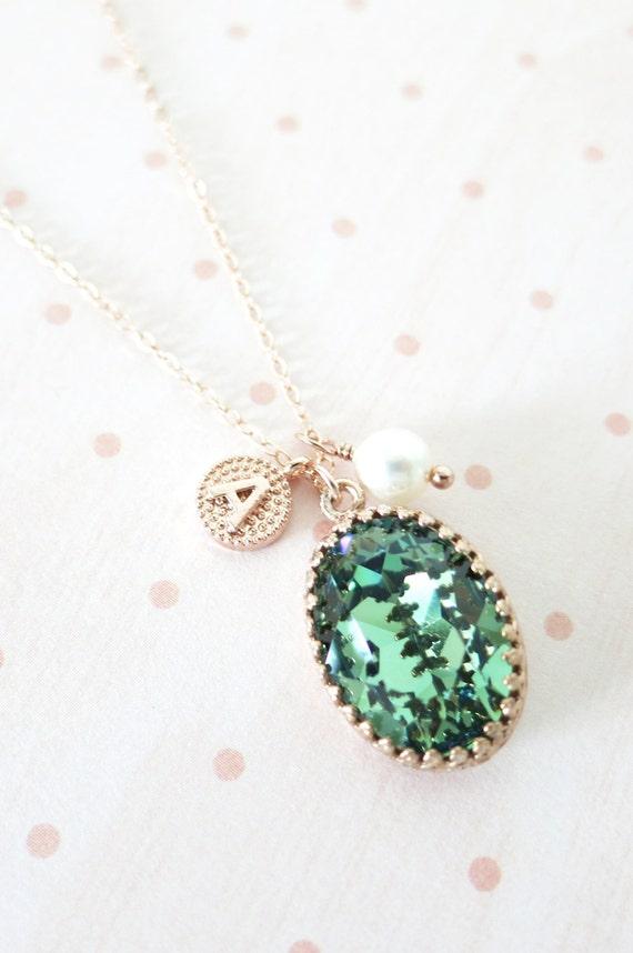 Rose Gold FILLED Swarovski Erinite Green Oval Crystal Necklace, blush pink wedding bridal, bridal bridesmaid gifts, pink gold weddings