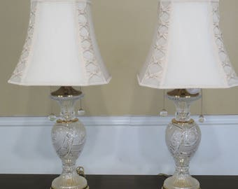 F29483E: Pair Highly Etched Crystal Table Lamps w. Shades