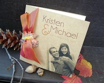 AUTUMN Fall Kraft Painted Leaf Leaves Square Photo Portrait Accordian Orange Rust Pumpkin Red Gold Yellow Wedding Invitation Set - Sample