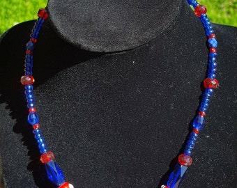 Blue and red glass beaded necklace