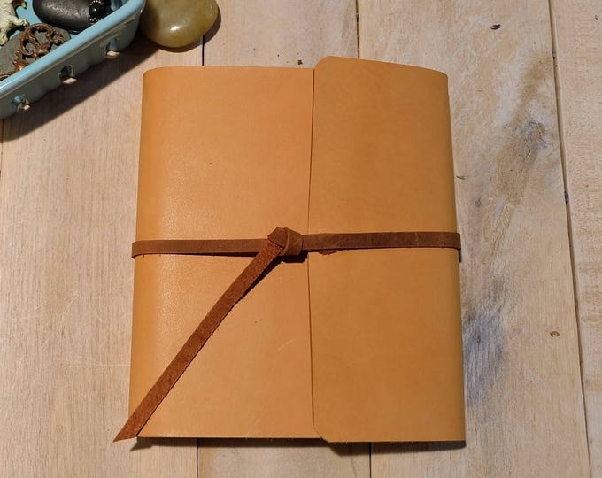 Leather Sketchbook with Contrasting Leather Tie