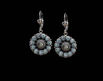 Antique Silver Flower Earrings with Teal Swarovski Crystals Dangle Earrings
