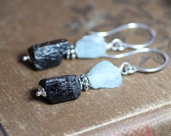 Black Tourmaline Earrings Rough Raw Gemstone Black Earrings Tourmaline and Aquamarine Raw Crystal Sterling Silver