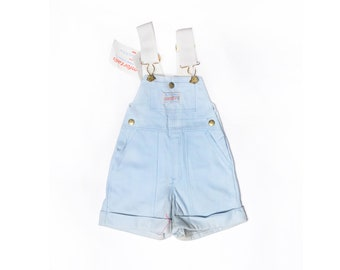 Deadstock 70's TODDLERS Carter's Pastel Blue Overall Shorts Sz 2T