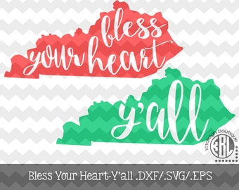 Kentucky- Bless Your Heart- Y'all design pack- .DXF/.SVG/.EPS File for use with your Silhouette Studio Software