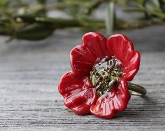 Lampwork Ring Red Poppy, Flower Ring Poppy, Lampwork beads Poppy, Glass Ring, Floral Lampwork Ring, Focal Lampwork Flower Ring, Jewelry Ring
