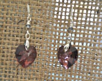 Purple Swarovski Heart Crystal Earrings