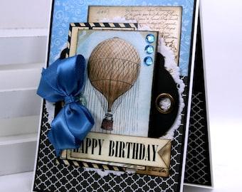 Hot Air Balloon Birthday Greeting Card Polly's Paper Studio Handmade