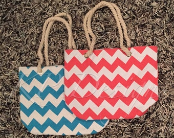 Rope Handled Chevron Beach & Outing Totes