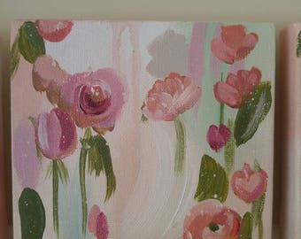 Blushing Blooms 6x6 acrylic painting