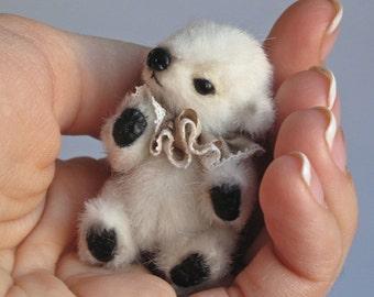 Miniature polar bear PATTERN, how to sew a teddy bear PDF pattern,  stuffed toy making, easy stuffed animals to sew, white bear pdf pattern