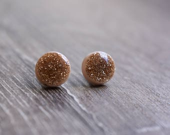 Glitter earrings, 12mm studs,polymer clay and resin, beige, gold, handmade, hypoallergenic, gift idea, bridesmaid gift, bride, wedding