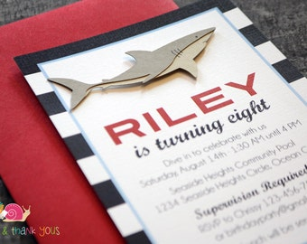 Great White Shark Birthday Party Invitation · STRIPED A6 FLAT · Red and Navy · Baby Shower   Pool Party   Summer