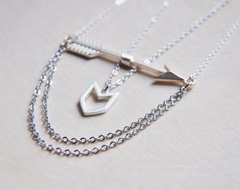 Arrow Necklace, Silver Arrow, Layering Necklace, Double Necklace, Tribal Necklace, Festival Necklace, Boho Necklace, Bohemian Necklace