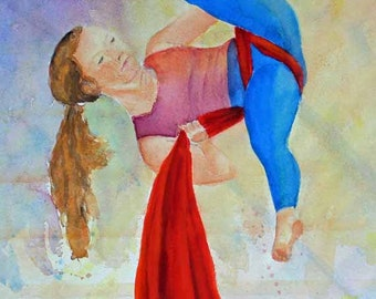 Watercolor Painting Panel Aerial Acrobatics Silk Scarf Original ArtPrints Giclee Prints Gift Ideas Magnets Carol Lytle Free Shipping #105
