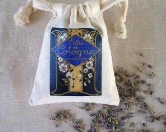 LAVENDER SACHET, PARIS Cologne Label Lavender Sachet, Aromatherapy Lavender Drawer Sachet, Sleeping Calm Aromatic Lavender Sachet