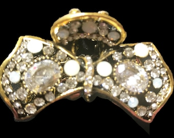 New Antique Gold With CZ Crystal & Opal Bow  2'' Hair Claw Clip