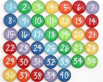 TEACHER - 40 Rainbow Calendar Number Glass Magnets