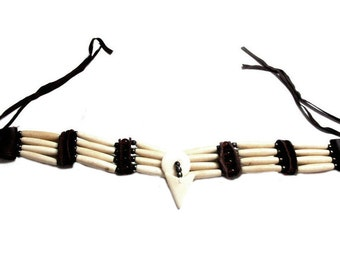 Bone Choker Necklace Hand Crafted 4 Strand Buffalo Bone Hair Pipes Arrow Head Ceromonial Indian Regalia