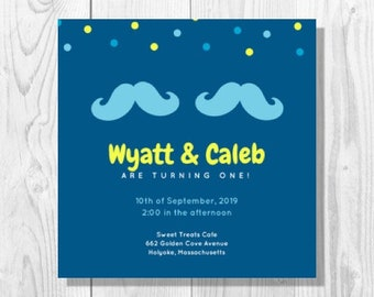 Blue Mustaches Twin Boys 1st Birthday Party Invitation - Printable