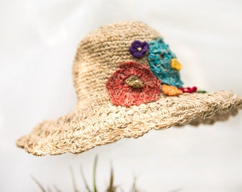"Summer Hat ""Summer meadow"" with malleable brim, hemp and cotton, hat"
