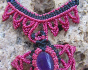 AMETHYST NECKLACE, macrame jewerly