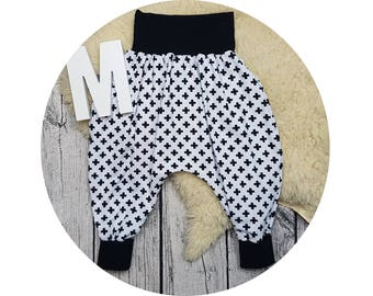 Harem trousers, harem pants, baby pants, baby, pants, Jersey pants, Mitwachsen pants, cross, hip, hipster, black, white