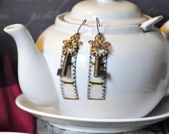 Steampunk Earrings, Skeleton Key Earrings, Clockwork Earrings, Film Earrings, Photo Earrings, Dangle, Gear Earrings, Movie Film Earrings