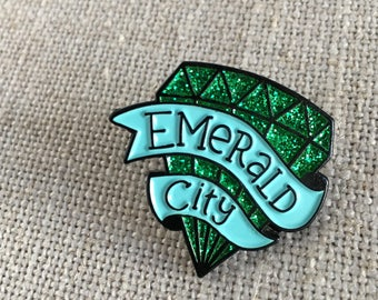 Emerald City Glitter Lapel Pin / Seattle Washington Emerald City Flair / Modern Seattle Gift / Cool Stocking Stuffer / Glitter Emerald Flair
