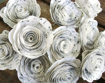 one dozen 12 vintage 2 inch hymnal sheet music spiral paper roses for bouquet weddings and farmhouse home decor  Valentines  ready to ship