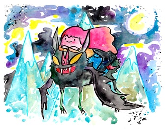Marceline The Vampire Queen and Princess Bubblegum, 8.5x11 inch inkjet print / Adventure Time Fan Art