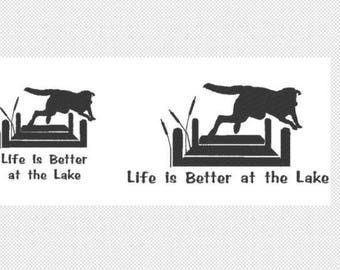 Lake Dog - Life is Better at the Lake embroidery design file instant download multiple formats, 2 sizes