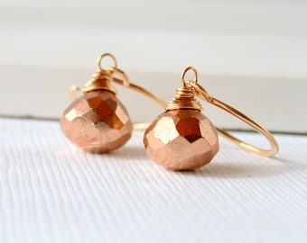 Bronze Pyrite Dangles.  Minimal Earrings. Petite Earrings Pyrite Earrings. Gemstone.