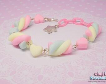 Kawaii Pastel Rainbow Marshmallow Bracelet, Fairy Kei, Sweet Lolita, Sweet Candy Jewelry, Cute Girly Accessory
