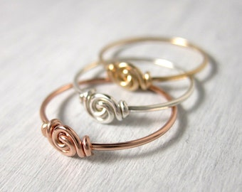 Stackable Rings Set of Three Love Knot Ring for Tiny Fingers Promise Ring Pinky Ring Knuckle Ring Wire Wrapped Mixed Metals Fingerling