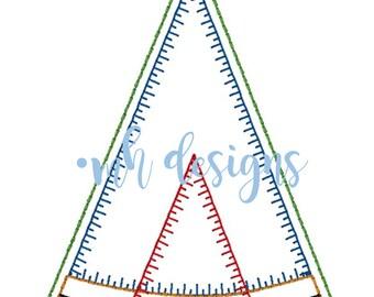 Tribal TeePee 5x7 embroidery design, TeePee applique, Vintage stitch TeePee, TeePee embroidery file, Bean stitch TeePee, Blanket stitch