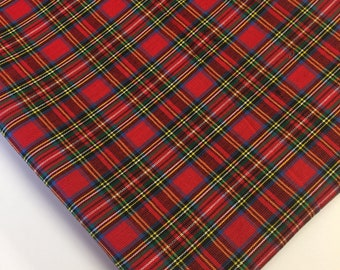 Red Plaid Fabric, Red Royal Stewart Tartan Fabric, Fabric by the yard, Fat Quarter, Quilting Fabric, Apparel Fabric, 100% Cotton Fabric, S-6