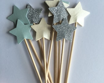 Baby shower cupcake toppers Pastel perfection star cupcake toppers star toppers baby shower toppers first birthday cake toppers