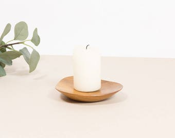 wooden vintage candle holder, mid century home decor