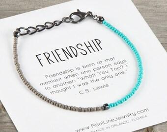Friendship Bracelet, GUN METAL Minimalist FRIENDSHIP Bracelet, Friends Bracelet Gift, Gifts Under 10, Friends Bracelets, Teen Gift