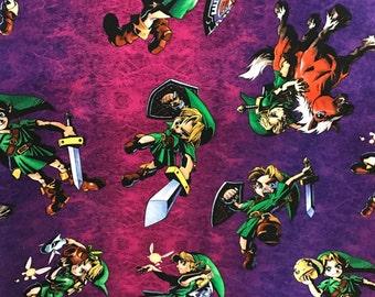 Nintendo Legend of Zelda fabric, Nintendo Fabric, Zelda fabric, Link fabric, Licensed fabric, gamer fabric