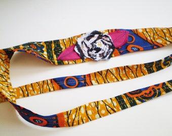 Colorful African Headband, African Headband Tie, Zebra African Headband, Orange Blue African Headband