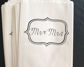 """Set of 12 Paper Bags with """"Mr. and Mrs."""" Wording, Favor Bags, Treat Bags, Candy Bags, Gift Bags, Party  Ideas, Wedding Ideas, Wedding Bags"""