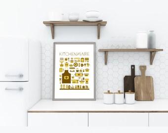 Kitchen Decor, Kitchenware Print, Printable Wall Art, Graphic Design, Large Poster, Vintage, Retro, Utensils, Tools, Digital File Download