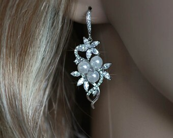 Handmade Cubic Zirconia CZ and Pearl Dangle Bridal Earrings, Bridal, Wedding (Pearl-668)