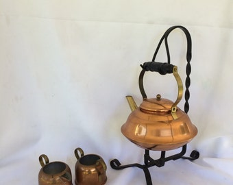 Coppercraft Guild Teapot Wrought Iron Stand, Creamer and Sugar
