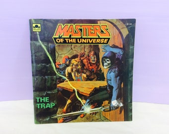 Masters of the Universe, The Trap Book, Vintage MOTU, 1980s Golden Books, He-Man Book, Skeletor Book, Children's Book, 1980s Action Figures