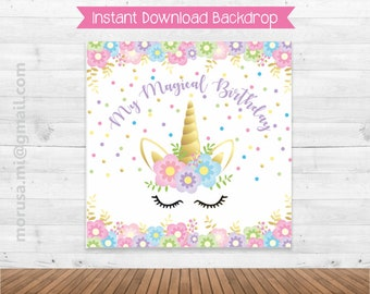 Unicorn printable backdrop, magical birthday, soft colors, pastel, gold, confeti, flowers. Instant download file